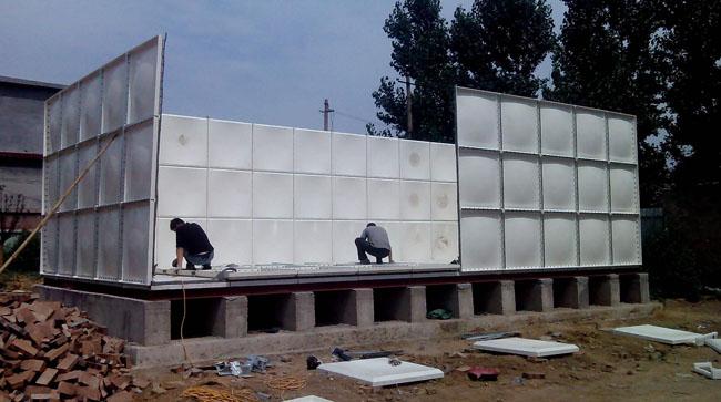 玻璃钢组合水箱现场组装